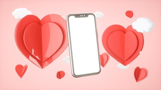 Smartphone-modell mit valentinskonzept. liebe, hochzeit, muttertag, einladung. 3d-rendering