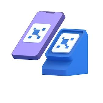 Smartphone qr-code scannen 3d render Premium Fotos