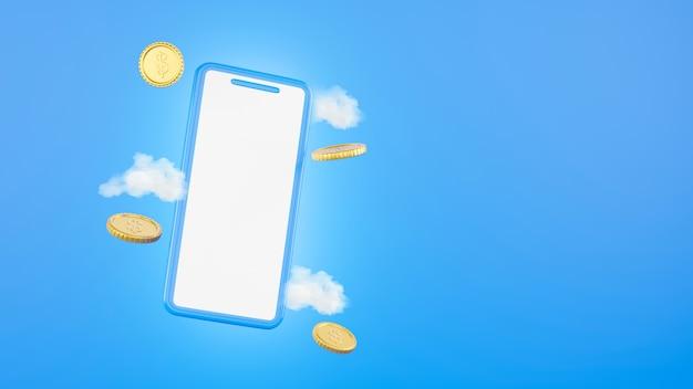 Smartphone- und goldmünzen auf e-commerce-konzept in 3d-rendering