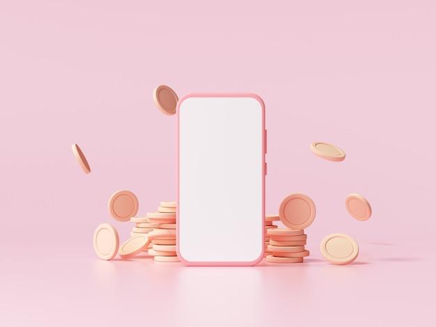 Smartphone- und münzstapel mit fallender münze auf rosafarbenem hintergrund, unternehmensinvestitionsgewinn, geldsparkonzept. 3d-darstellung.