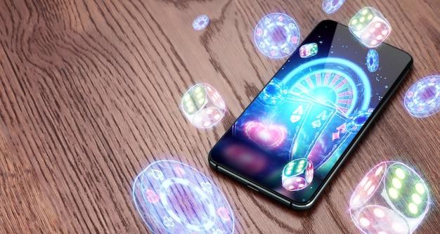 Smartphone- und neon-casino-neustart, roulette, würfel, chips. online-casino, glücksspiel, internetspiele, wetten. website-header, flyer, poster, vorlage für werbung.