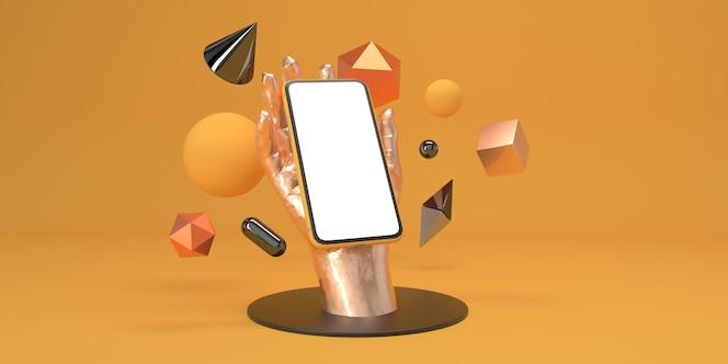Smartphone zur hand und geometriefiguren auf dem podium