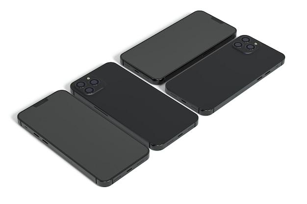 Smartphones design auf weißem hintergrund