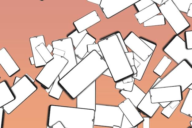 Smartphones mit herunterfallenden leeren bildschirmen