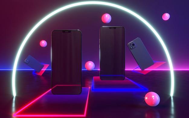 Smartphones mit neonlichtanordnung