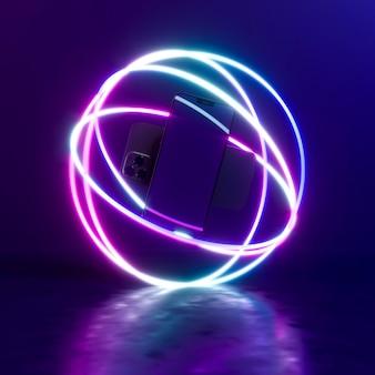 Smartphones mit neonlichtkugel