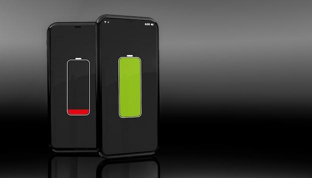 Smartphones mit voller ladung und niedrigem akkuladestand