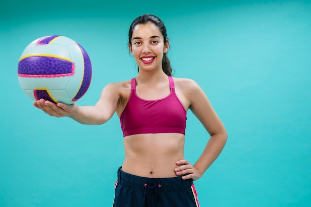 Smiley-volleyball mit ball