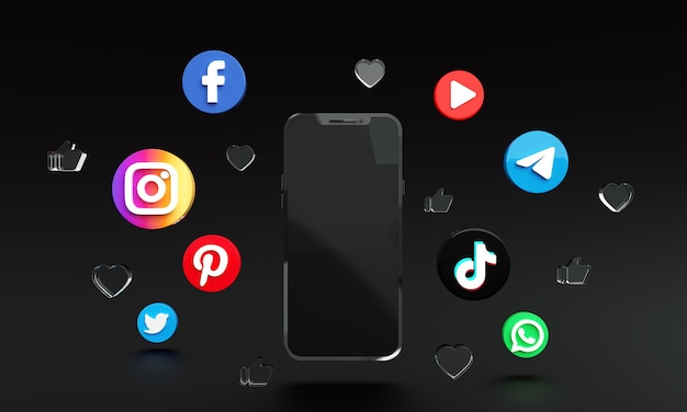 Social-media-anwendungssymbole rund um smartphone 3d-premium-foto