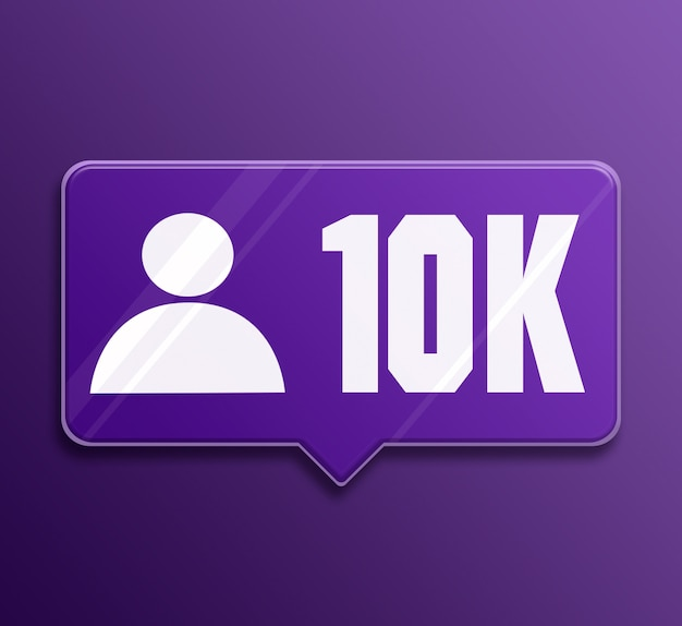 Social media benachrichtigung 10k follower glas sprechblase 3d