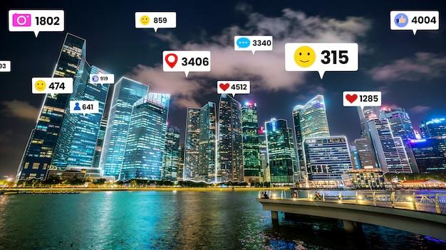 Social media engagement fliegt über die stadt fly