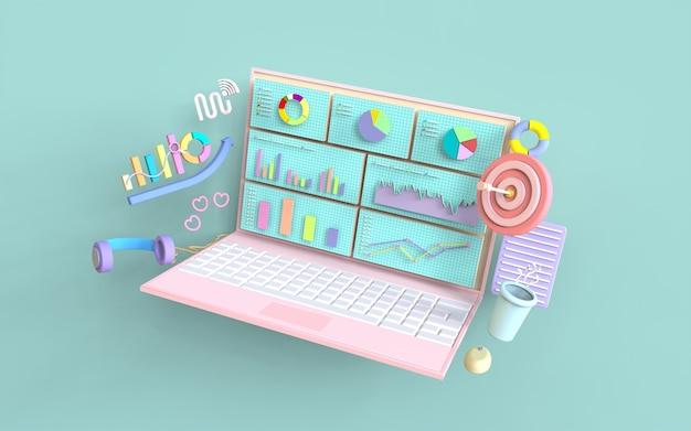 Social media laptop digitales marketing balkendiagramm konzept 3d-rendering