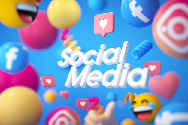 Social media logo mit emojis