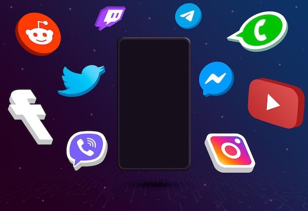 Social-media-logo-symbole um telefon mit leerem bildschirm auf technischem hintergrund 3d