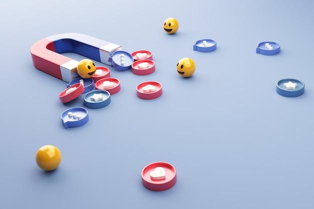 Social media mit einem magneten anziehen.