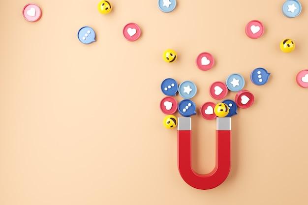 Social media mit einem riesigen magneten anziehen.