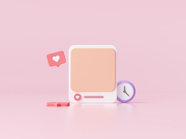 Social media mit fotorahmen auf rosa hintergrund für webseitenbanner. 3d-renderillustration