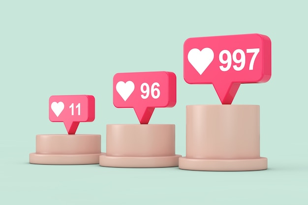 Social media network love and like heart icons auf sockel, bühne, podium oder säule auf grünem hintergrund. 3d-rendering