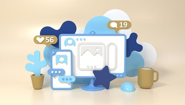 Social media networks 3d-stil konzept illustration mit smartphone-computer-cup und blume