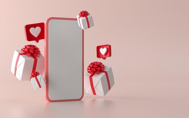 Social media-telefon mit weihnachtsgeschenkillustration für fahne. 3d-darstellung