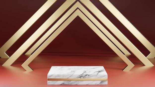 Sockel aus weißem marmor und goldenem quadrat mit goldener dekoration auf rotem hintergrund