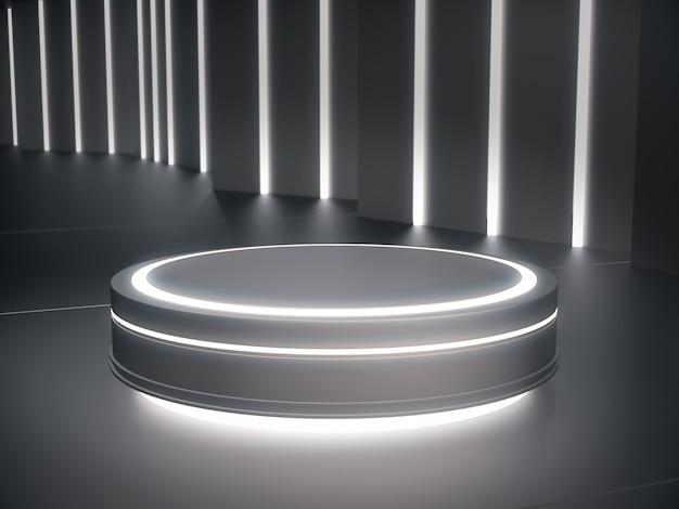 Sockel mit hellem licht für produktpräsentation in futuristischem raum.