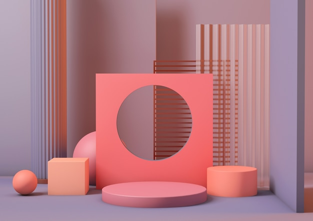 Sockelplattform des sauberen 3d-renderings in neonkoralle mit lavandafarbenhintergrund