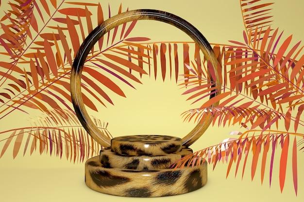 Sockelpodest des 3d-leopardenmotivs auf gelbem tropischem pastellhintergrund. exotisches orangefarbenes palmblatt. produktwerbung für schönheitskosmetik.