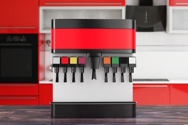 Soda soft drink dispenser mockup mit freiem platz für ihr design auf einem holztisch. 3d-rendering