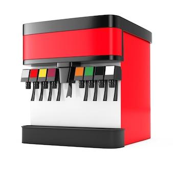 Soda soft drink dispenser mockup mit freiem platz für ihr design auf weißem hintergrund. 3d-rendering