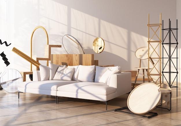 Sofa, das durch viel geometrisches form-modernes trendgold und -weiß auf holzboden und weißer wand mit sonnenlichtschatten von fenstern 3d-darstellung umgibt