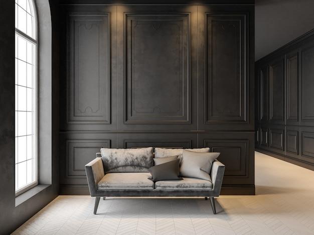 Sofa im klassischen schwarzen interieur d rendern des interieurs mock-up