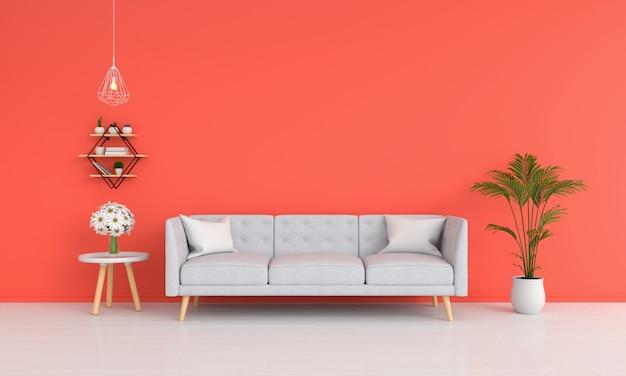 Sofa im orangefarbenen wohnzimmer