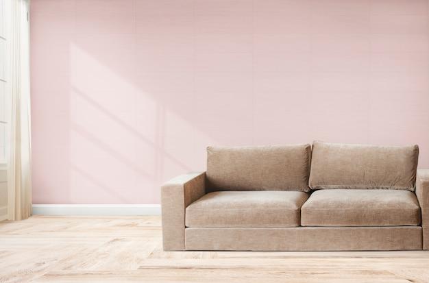 Sofa in einem rosafarbenen raum