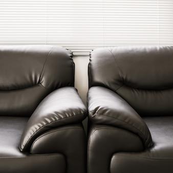 Sofa leder schwarze möbel im wohnzimmer