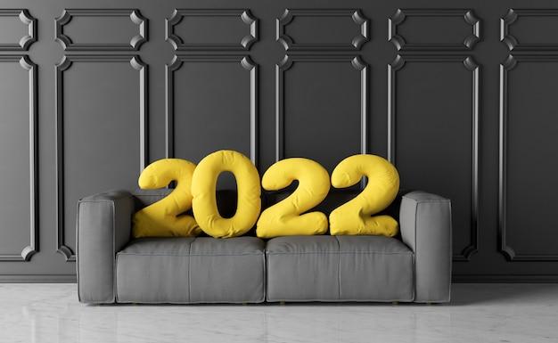 Sofa mit neujahrskissen 2022