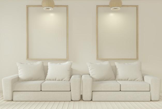 Sofa und dekorationspflanzen im wohnzimmer mit weißer wand.