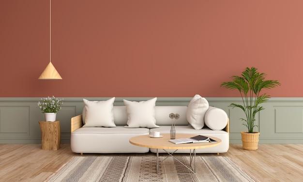 Sofa und hölzerner runder tisch im wohnzimmer