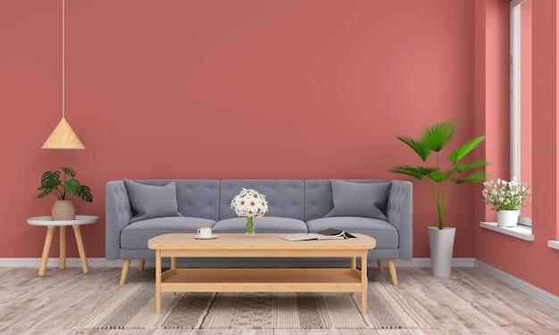 Sofa und holztisch im wohnzimmer