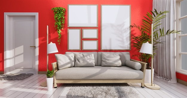 Sofa und rahmen in der korallenroten wohnzimmerzenart