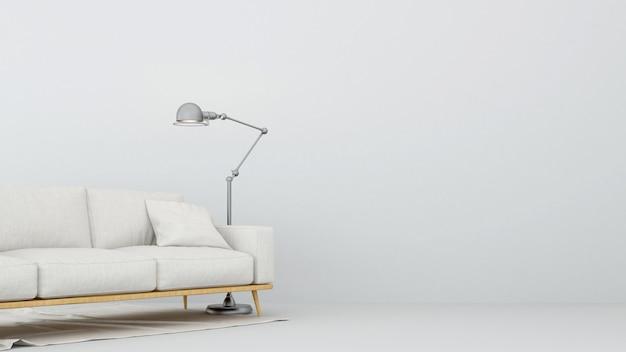Sofa und stehlampe im wohnzimmer - wiedergabe 3d