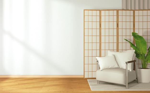 Sofa und stuhl mit japanischem hintergrund in einem tropischen stil auf raum japan-stil.3d-rendering