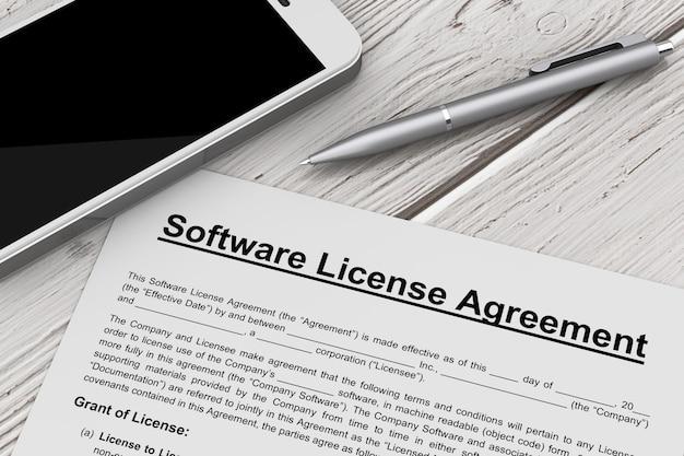 Software-lizenzvertrag mit handy und stift auf einem holztisch. 3d-rendering