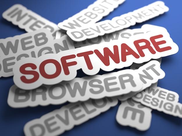 Software-text mit selektivem fokus. 3d-rendering.