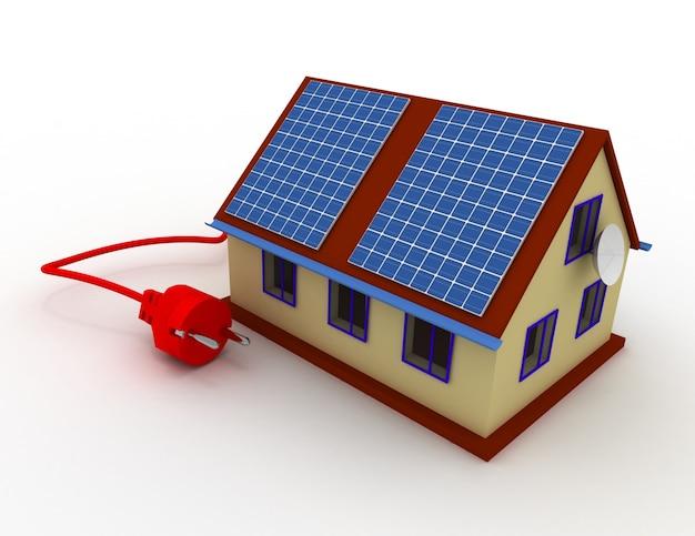 Solarenergiekonzept. 3d gerenderte darstellung