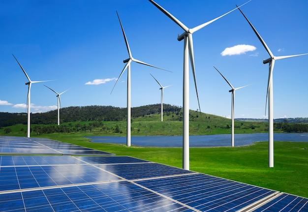 Solarpanel und windkraftanlage sauberer energie.