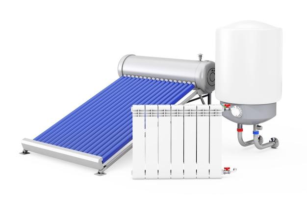 Solarwarmwasserbereiter mit boiler und heizkörper auf weißem hintergrund. 3d-rendering.