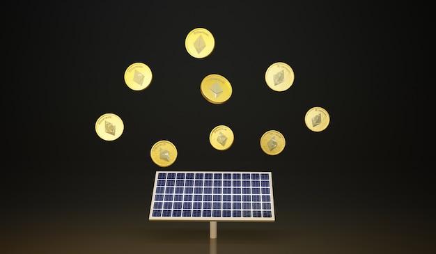 Solarzellenpanel mit kryptomünze 3d-darstellung