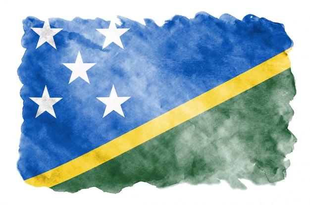 Solomon islands-flagge wird in der flüssigen aquarellart dargestellt, die auf weiß lokalisiert wird