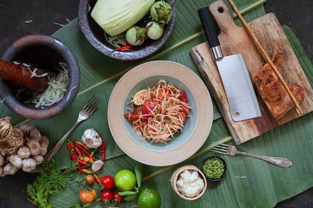 Som tam thai-zutaten papaya-salat thai food style
